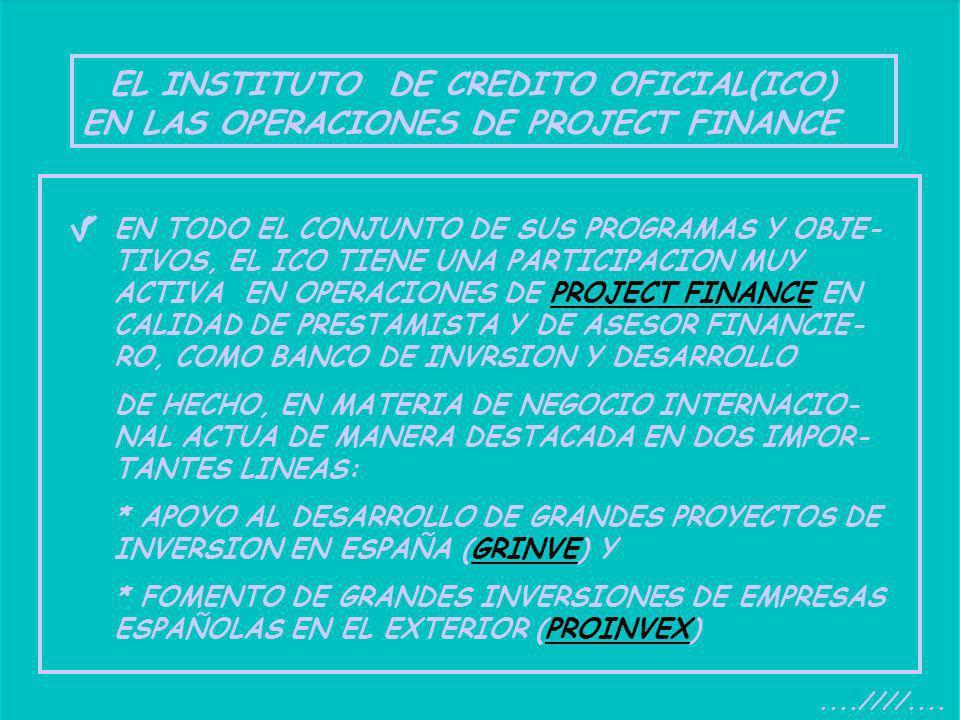 EL INSTITUTO DE CREDITO OFICIAL(ICO) EN LAS OPERACIONES DE PROJECT FINANCE....////.... EN TODO EL CONJUNTO DE SUS PROGRAMAS Y OBJE- TIVOS, EL ICO TIEN