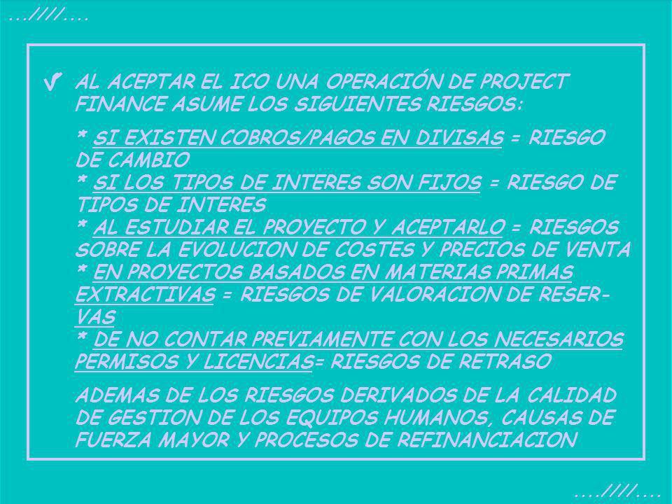 ....////.... AL ACEPTAR EL ICO UNA OPERACIÓN DE PROJECT FINANCE ASUME LOS SIGUIENTES RIESGOS: * SI EXISTEN COBROS/PAGOS EN DIVISAS = RIESGO DE CAMBIO