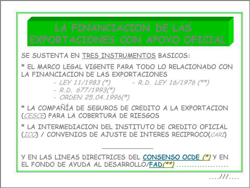 f LA FINANCIACION DE LAS EXPORTACIONES CON APOYO OFICIAL....///.... SE SUSTENTA EN TRES INSTRUMENTOS BASICOS: * EL MARCO LEGAL VIGENTE PARA TODO LO RE
