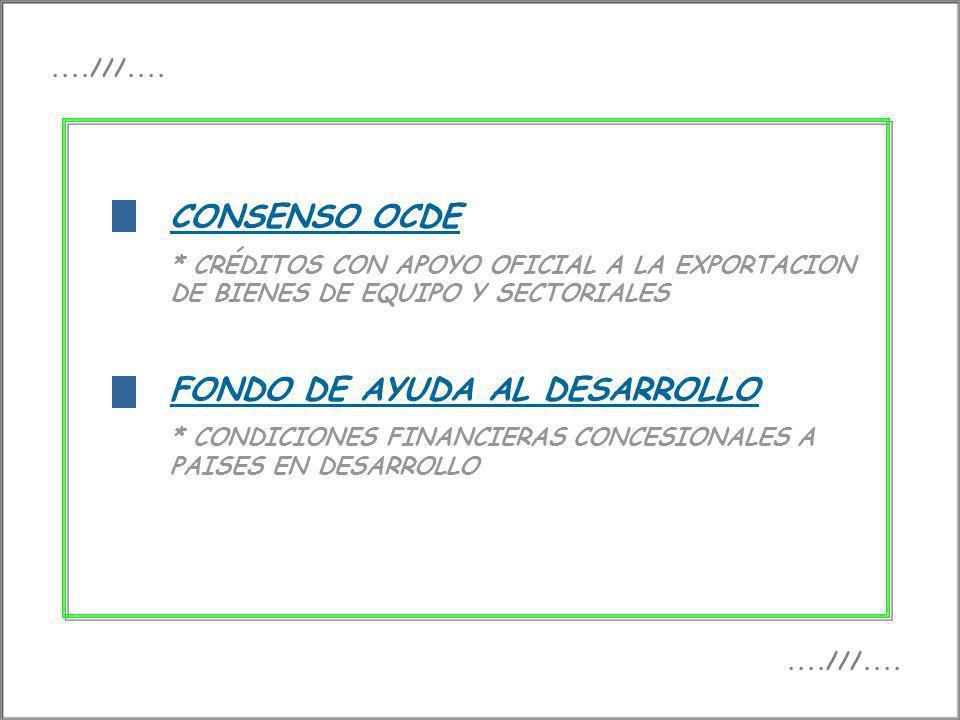 f CONSENSO OCDE * CRÉDITOS CON APOYO OFICIAL A LA EXPORTACION DE BIENES DE EQUIPO Y SECTORIALES FONDO DE AYUDA AL DESARROLLO * CONDICIONES FINANCIERAS