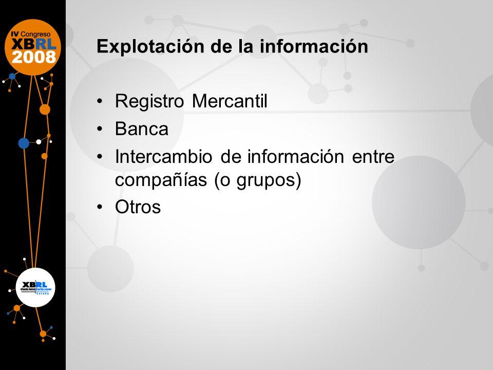 Explotación de la información Registro Mercantil Banca Intercambio de información entre compañías (o grupos) Otros