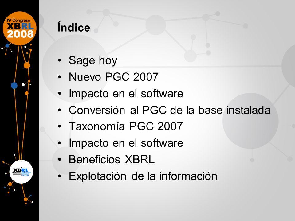 Índice Sage hoy Nuevo PGC 2007 Impacto en el software Conversión al PGC de la base instalada Taxonomía PGC 2007 Impacto en el software Beneficios XBRL