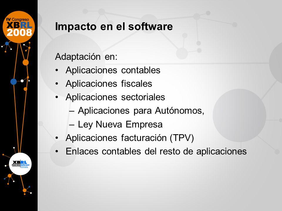 Impacto en el software Adaptación en: Aplicaciones contables Aplicaciones fiscales Aplicaciones sectoriales –Aplicaciones para Autónomos, –Ley Nueva E
