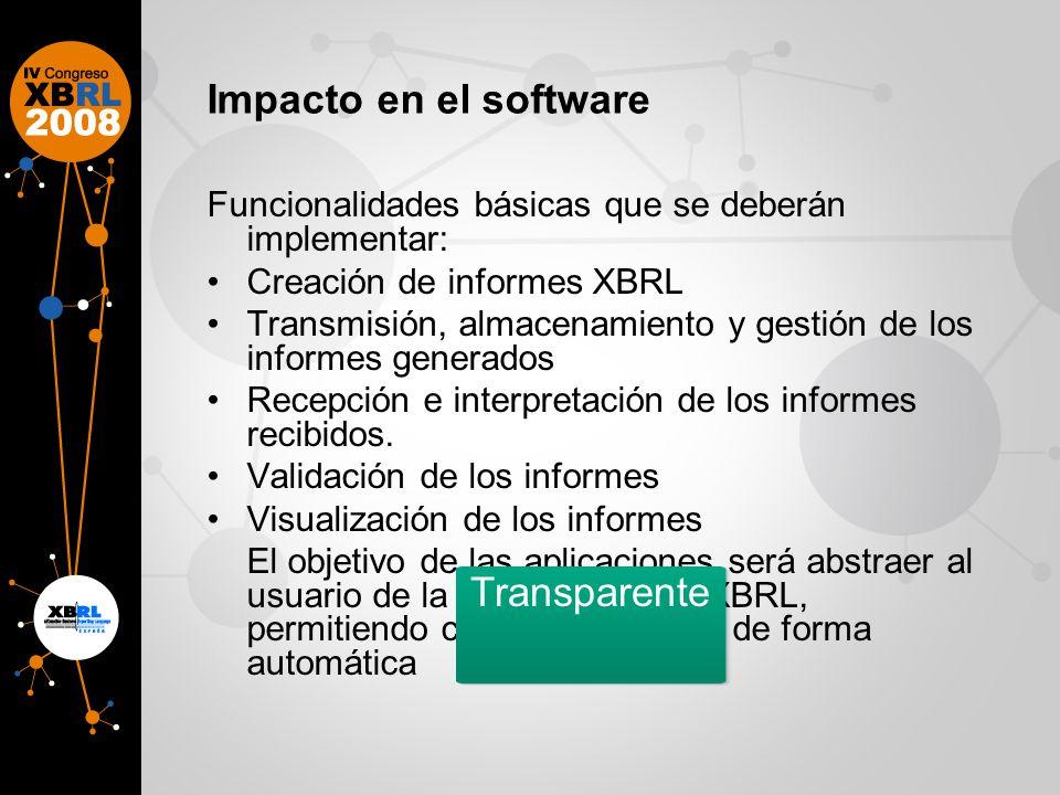 Impacto en el software Funcionalidades básicas que se deberán implementar: Creación de informes XBRL Transmisión, almacenamiento y gestión de los informes generados Recepción e interpretación de los informes recibidos.