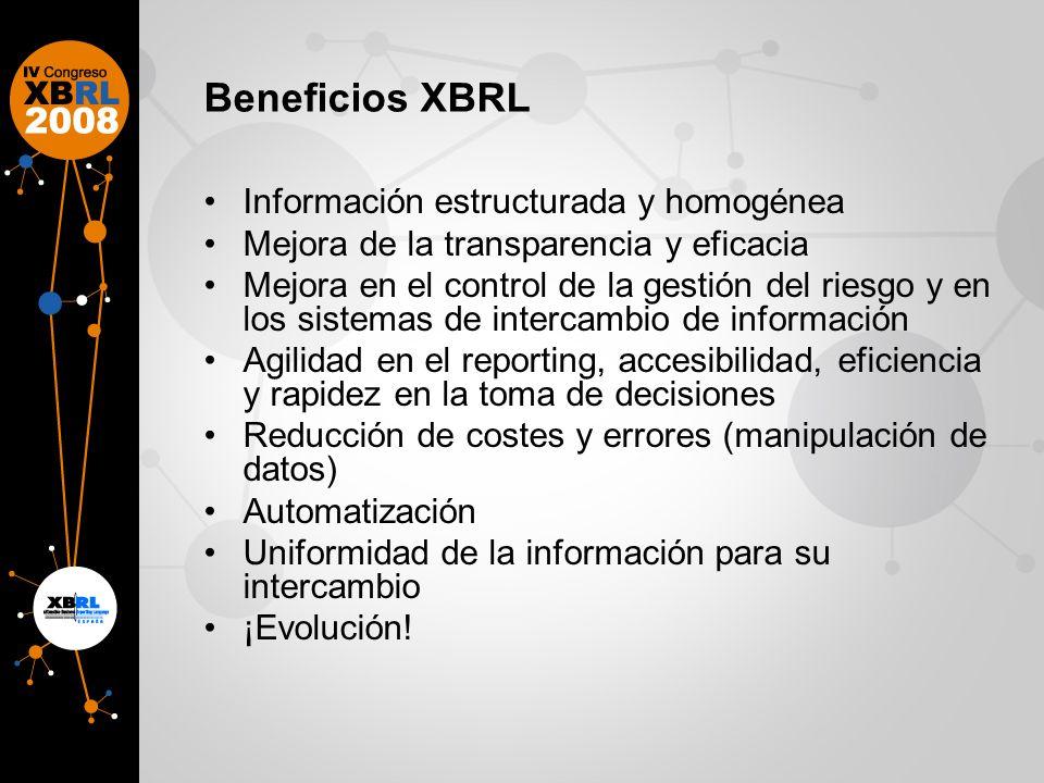 Beneficios XBRL Información estructurada y homogénea Mejora de la transparencia y eficacia Mejora en el control de la gestión del riesgo y en los sistemas de intercambio de información Agilidad en el reporting, accesibilidad, eficiencia y rapidez en la toma de decisiones Reducción de costes y errores (manipulación de datos) Automatización Uniformidad de la información para su intercambio ¡Evolución!