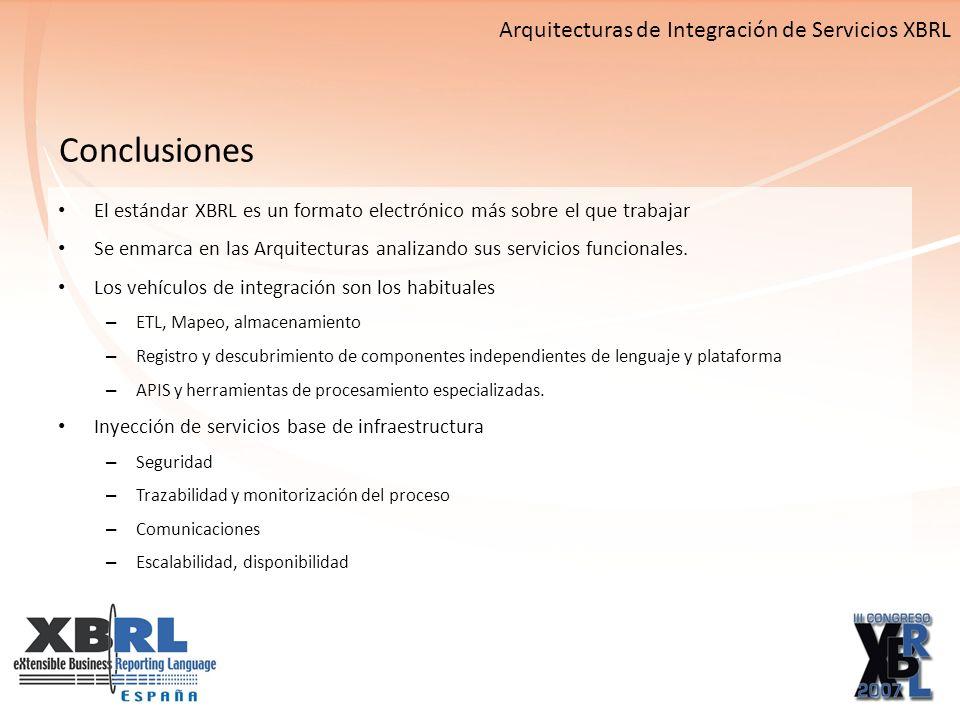 El estándar XBRL es un formato electrónico más sobre el que trabajar Se enmarca en las Arquitecturas analizando sus servicios funcionales.