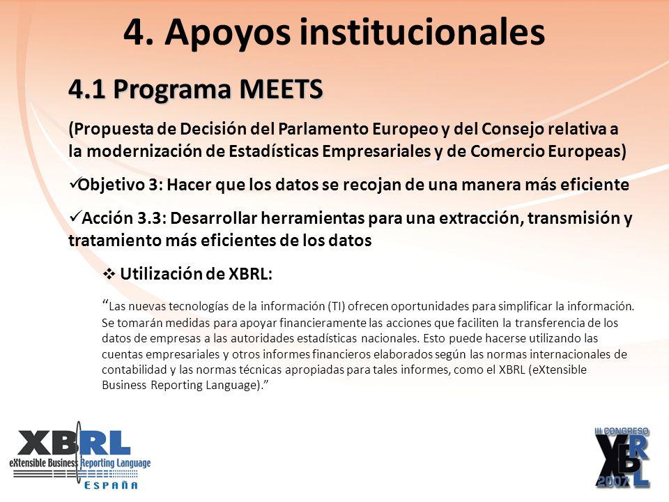 4.1 Programa MEETS (Propuesta de Decisión del Parlamento Europeo y del Consejo relativa a la modernización de Estadísticas Empresariales y de Comercio Europeas) Objetivo 3: Hacer que los datos se recojan de una manera más eficiente Acción 3.3: Desarrollar herramientas para una extracción, transmisión y tratamiento más eficientes de los datos Utilización de XBRL: Las nuevas tecnologías de la información (TI) ofrecen oportunidades para simplificar la información.