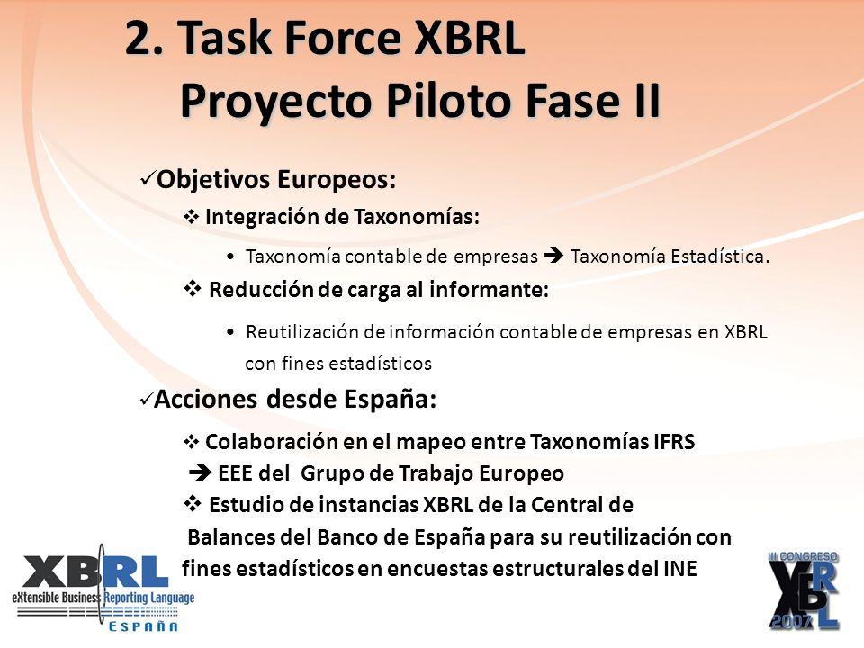 2. Task Force XBRL Proyecto Piloto Fase II Proyecto Piloto Fase II Objetivos Europeos: Integración de Taxonomías: Taxonomía contable de empresas Taxon