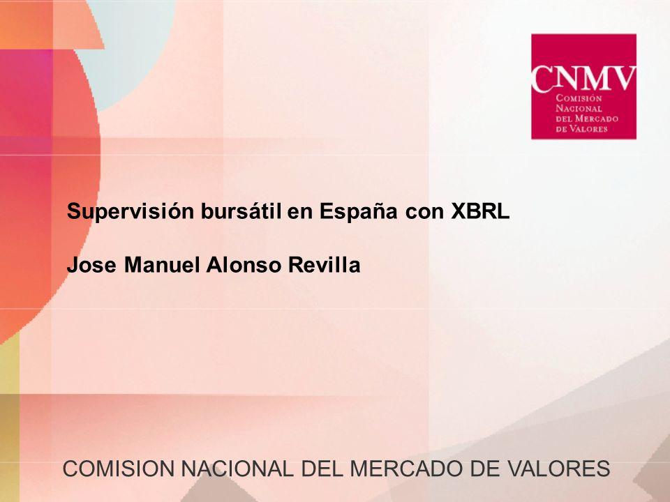 COMISION NACIONAL DEL MERCADO DE VALORES Supervisión bursátil en España con XBRL Jose Manuel Alonso Revilla