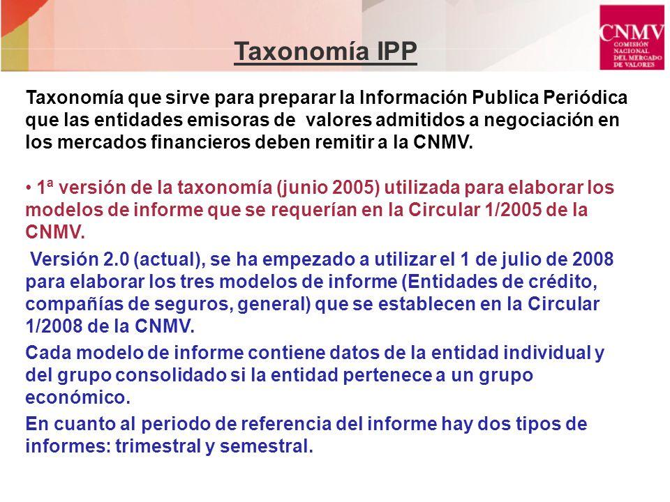 Taxonomía IPP Taxonomía que sirve para preparar la Información Publica Periódica que las entidades emisoras de valores admitidos a negociación en los