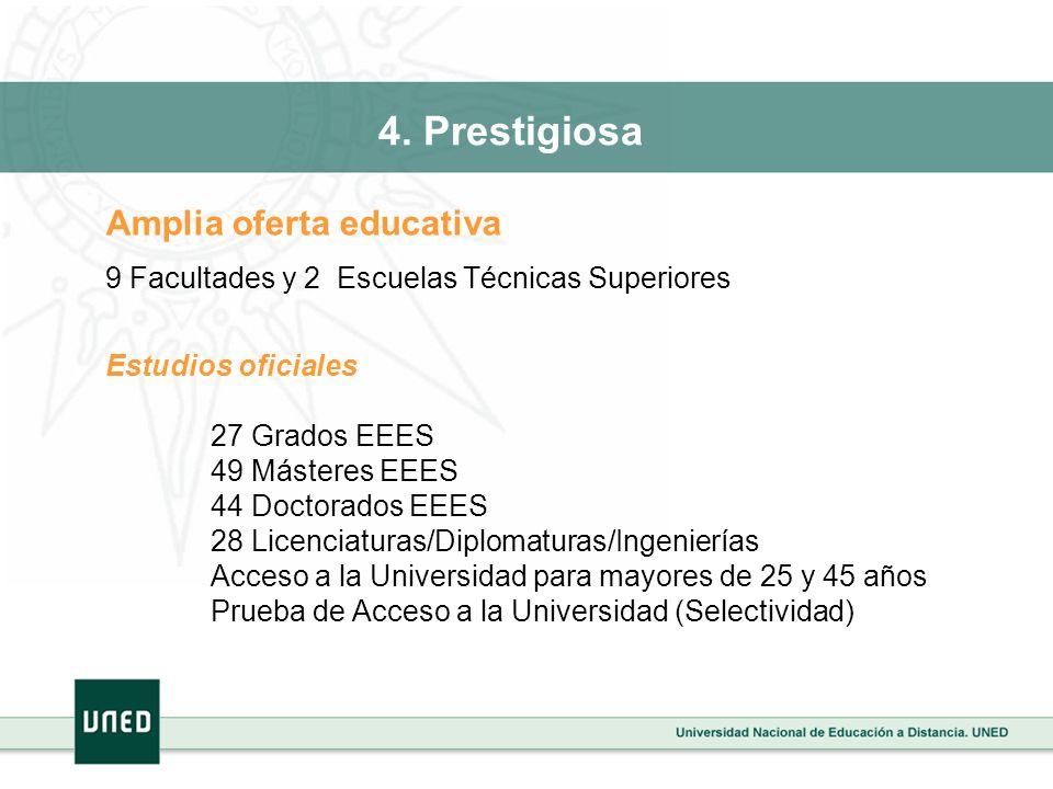 Amplia oferta educativa 9 Facultades y 2 Escuelas Técnicas Superiores Estudios oficiales 27 Grados EEES 49 Másteres EEES 44 Doctorados EEES 28 Licenci