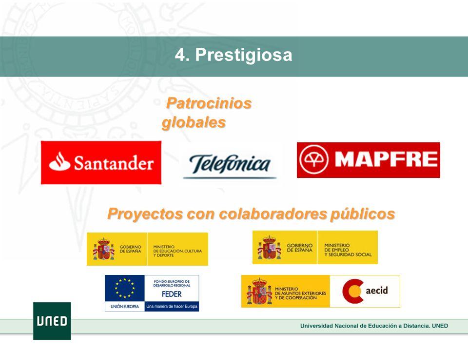 4. Prestigiosa Patrocinios globales Patrocinios globales Proyectos con colaboradores públicos Proyectos con colaboradores públicos