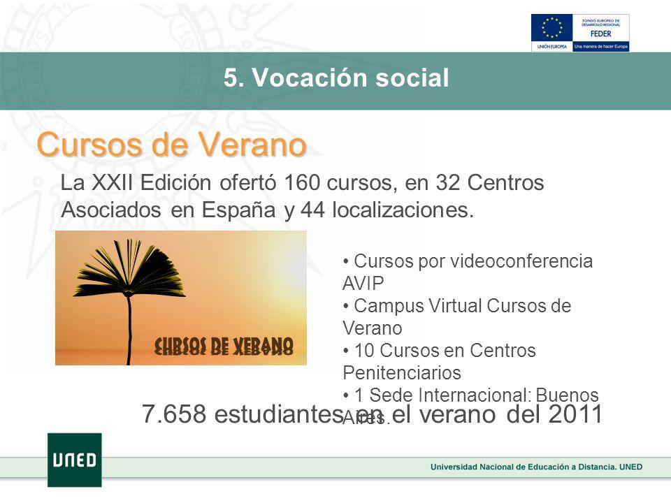 5. Vocación social Cursos de Verano La XXII Edición ofertó 160 cursos, en 32 Centros Asociados en España y 44 localizaciones. Cursos por videoconferen