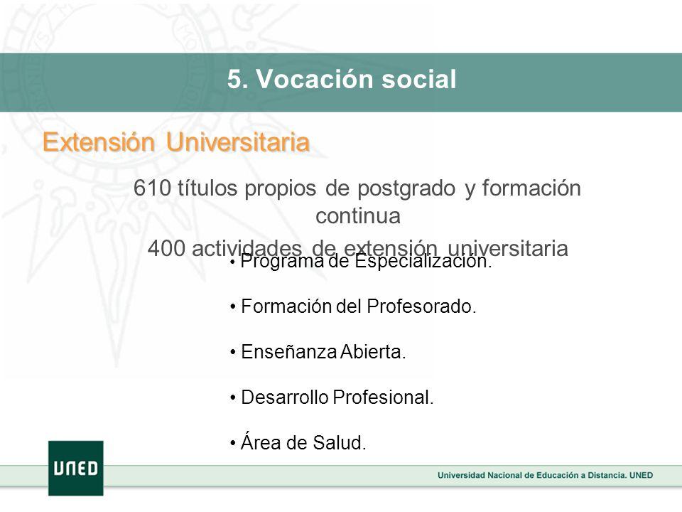5. Vocación social Extensión Universitaria 610 títulos propios de postgrado y formación continua 400 actividades de extensión universitaria Programa d