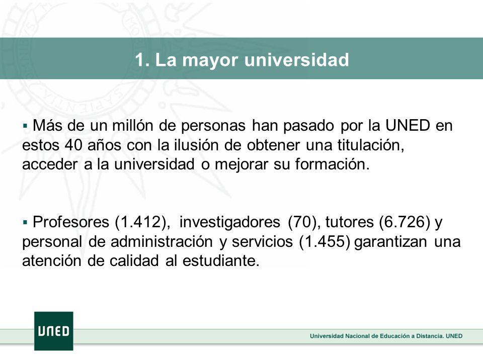 1. La mayor universidad Más de un millón de personas han pasado por la UNED en estos 40 años con la ilusión de obtener una titulación, acceder a la un