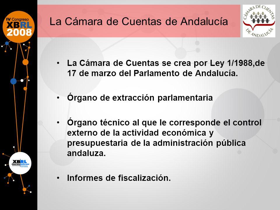 La Cámara de Cuentas de Andalucía La Cámara de Cuentas se crea por Ley 1/1988,de 17 de marzo del Parlamento de Andalucía.