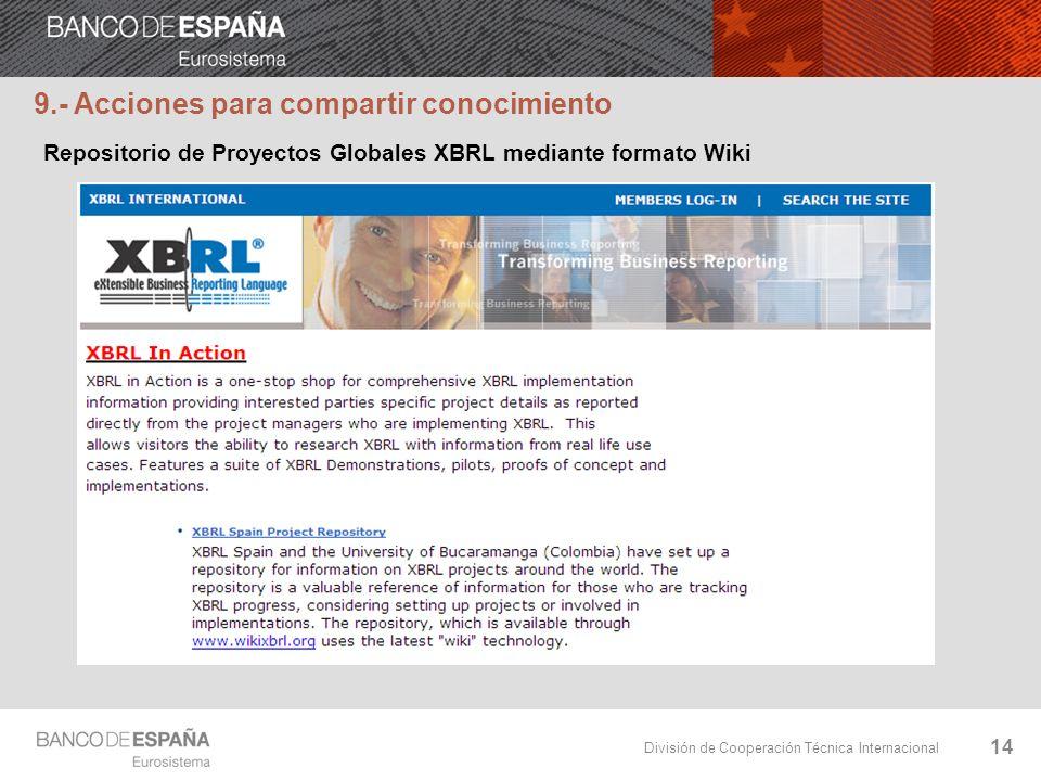 División de Cooperación Técnica Internacional 14 Repositorio de Proyectos Globales XBRL mediante formato Wiki 9.- Acciones para compartir conocimiento