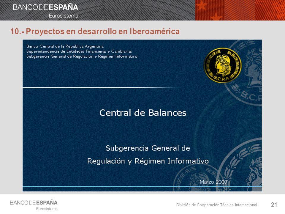 División de Cooperación Técnica Internacional 10.- Proyectos en desarrollo en Iberoamérica 21