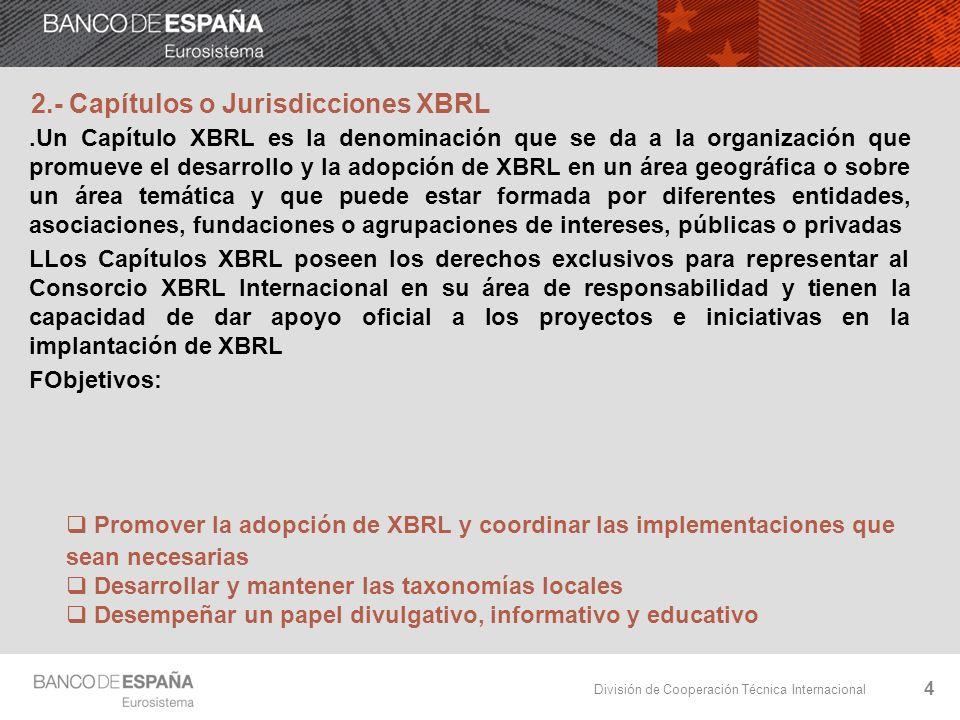 División de Cooperación Técnica Internacional 15 9.- Acciones para compartir conocimiento Repositorio de Proyectos Globales XBRL mediante formato Wiki