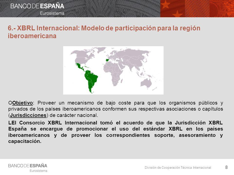 División de Cooperación Técnica Internacional 19 Convenios de Colaboración XBRL España los firma con organizaciones académicas y profesionales, públicas y privadas, para fomentar el I+D y acercar la comunidad iberoamericana a los diversos proyectos europeos alrededor de XBRL.