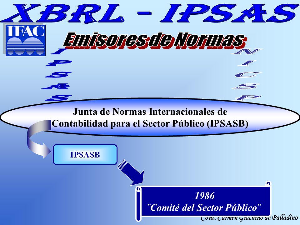 Cont. Carmen Giachino de Palladino Junta de Normas Internacionales de Contabilidad para el Sector Público (IPSASB) IPSASB 1986 ¨Comité del Sector Públ