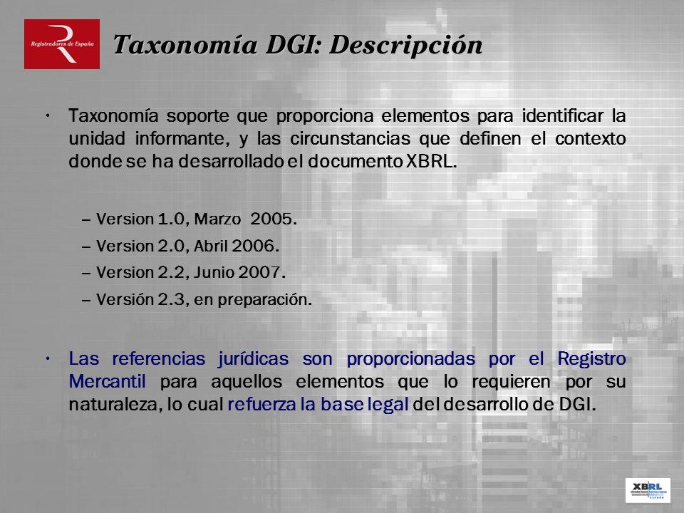 Taxonomía soporte que proporciona elementos para identificar la unidad informante, y las circunstancias que definen el contexto donde se ha desarrolla