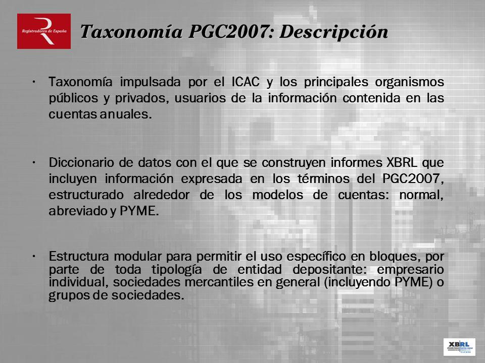 Taxonomía impulsada por el ICAC y los principales organismos públicos y privados, usuarios de la información contenida en las cuentas anuales. Diccion