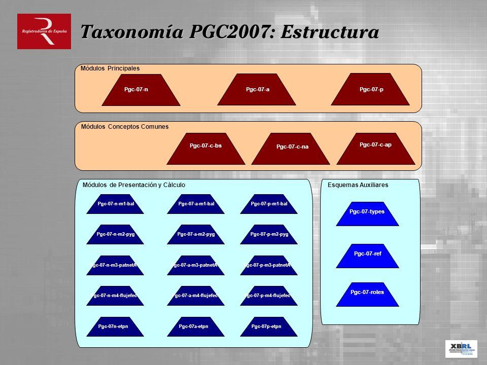 Pgc-07-c-bs Pgc-07-c-na Pgc-07-c-ap Módulos Conceptos Comunes Pgc-07-n Módulos Principales Pgc-07-a Pgc-07-p Módulos de Presentación y Cálculo Taxonom