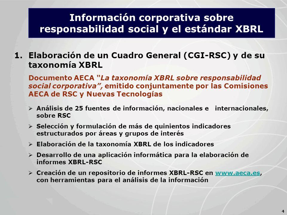 1.Elaboración de un Cuadro General (CGI-RSC) y de su taxonomía XBRL Documento AECA La taxonomía XBRL sobre responsabilidad social corporativa, emitido conjuntamente por las Comisiones AECA de RSC y Nuevas Tecnologías 4 Análisis de 25 fuentes de información, nacionales e internacionales, sobre RSC Selección y formulación de más de quinientos indicadores estructurados por áreas y grupos de interés Elaboración de la taxonomía XBRL de los indicadores Desarrollo de una aplicación informática para la elaboración de informes XBRL-RSC Creación de un repositorio de informes XBRL-RSC en www.aeca.es, con herramientas para el análisis de la informaciónwww.aeca.es Información corporativa sobre responsabilidad social y el estándar XBRL