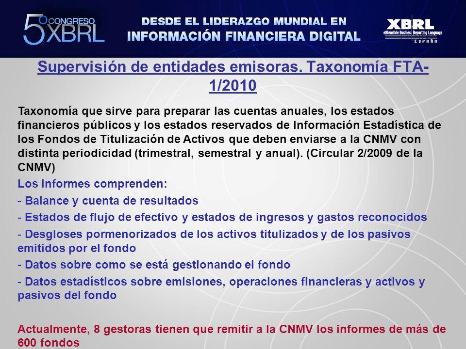 Supervisión de entidades emisoras. Taxonomía FTA- 1/2010 Taxonomía que sirve para preparar las cuentas anuales, los estados financieros públicos y los