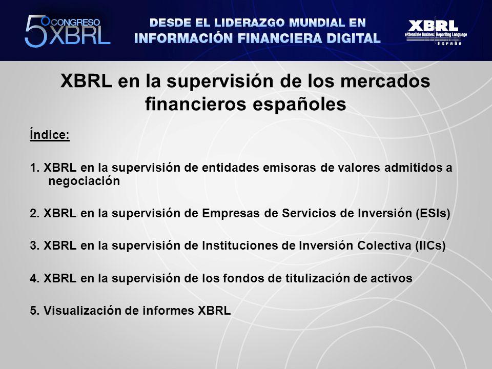 Índice: 1. XBRL en la supervisión de entidades emisoras de valores admitidos a negociación 2. XBRL en la supervisión de Empresas de Servicios de Inver