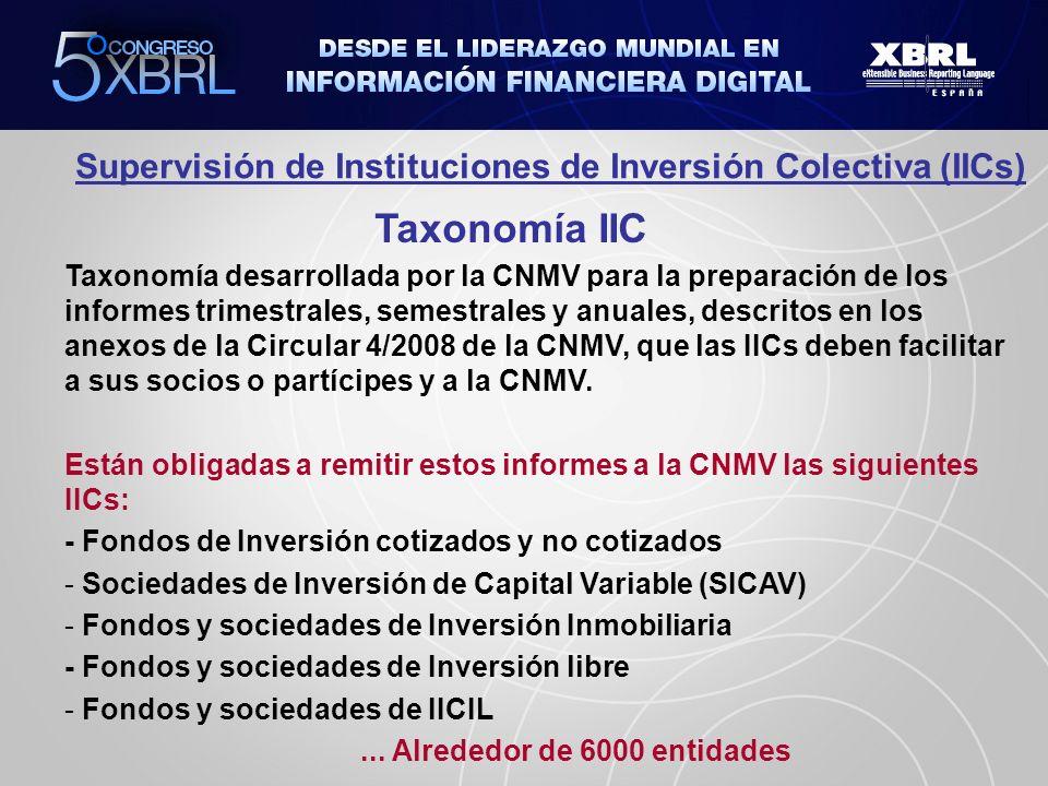 Supervisión de Instituciones de Inversión Colectiva (IICs) Taxonomía IIC Taxonomía desarrollada por la CNMV para la preparación de los informes trimes