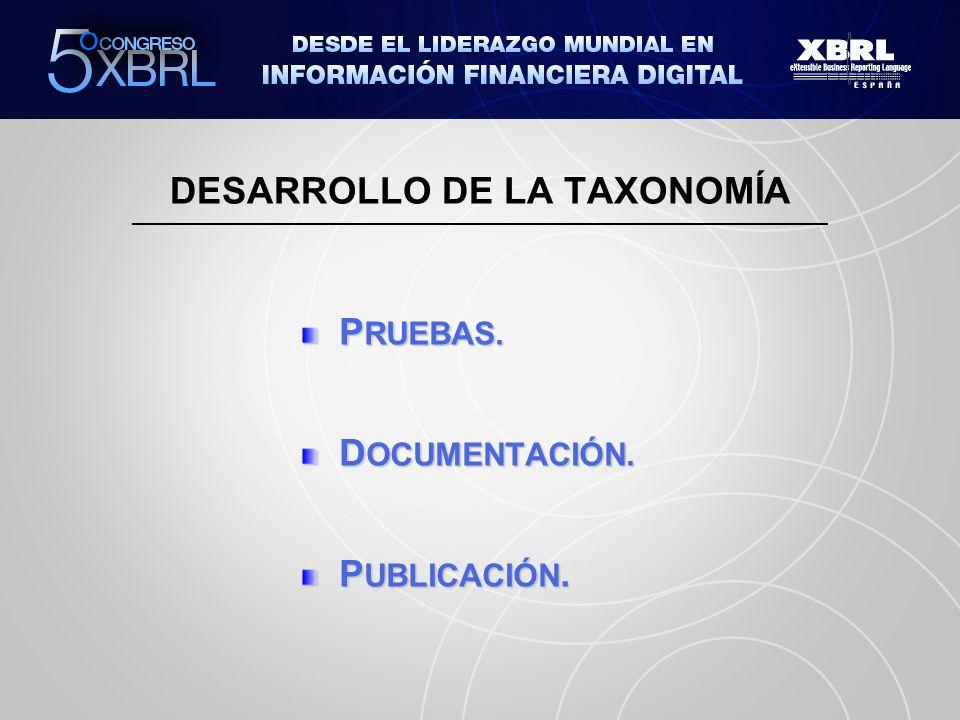 P RUEBAS. D OCUMENTACIÓN. P UBLICACIÓN. DESARROLLO DE LA TAXONOMÍA
