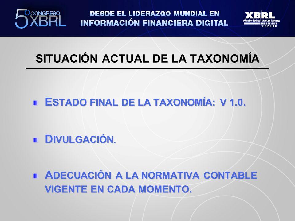 E STADO FINAL DE LA TAXONOMÍA: V 1.0. D IVULGACIÓN. A DECUACIÓN A LA NORMATIVA CONTABLE VIGENTE EN CADA MOMENTO. SITUACIÓN ACTUAL DE LA TAXONOMÍA