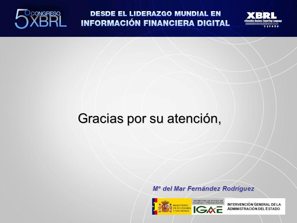 Gracias por su atención, Mª del Mar Fernández Rodríguez I NTERVENCIÓN G ENERAL DE LA A DMINISTRACIÓN DEL E STADO
