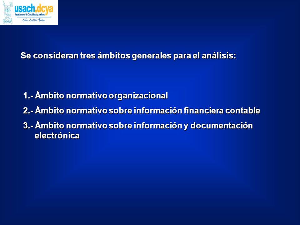 1.- Ámbito normativo organizacional 2.- Ámbito normativo sobre información financiera contable 3.- Ámbito normativo sobre información y documentación electrónica Se consideran tres ámbitos generales para el análisis: