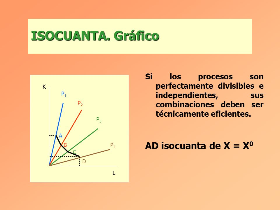 Si los procesos son perfectamente divisibles e independientes, sus combinaciones deben ser técnicamente eficientes.