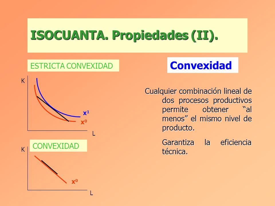 Cuanto más alejada del origen está una isocuanta mayor es el nivel de producto. X 0 < X 1 < X 2 ISOCUANTA. Propiedades (I). K L X0X0 X1X1 X2X2 Cardina
