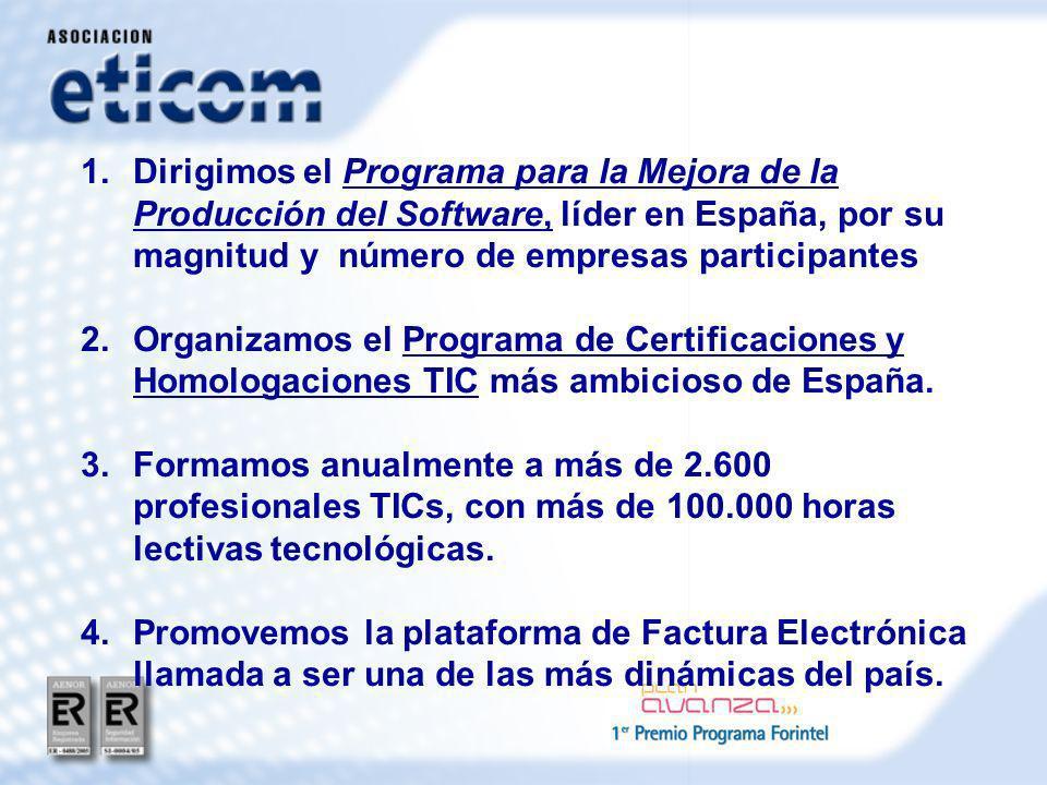 1.Dirigimos el Programa para la Mejora de la Producción del Software, líder en España, por su magnitud y número de empresas participantes 2.Organizamos el Programa de Certificaciones y Homologaciones TIC más ambicioso de España.