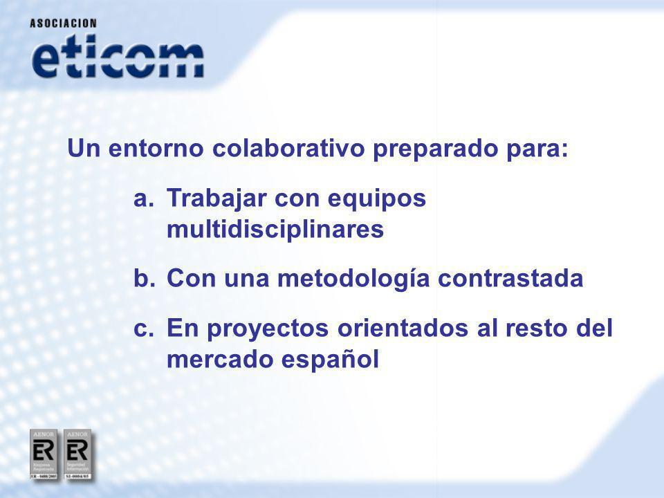Un entorno colaborativo preparado para: a.Trabajar con equipos multidisciplinares b.Con una metodología contrastada c.En proyectos orientados al resto del mercado español