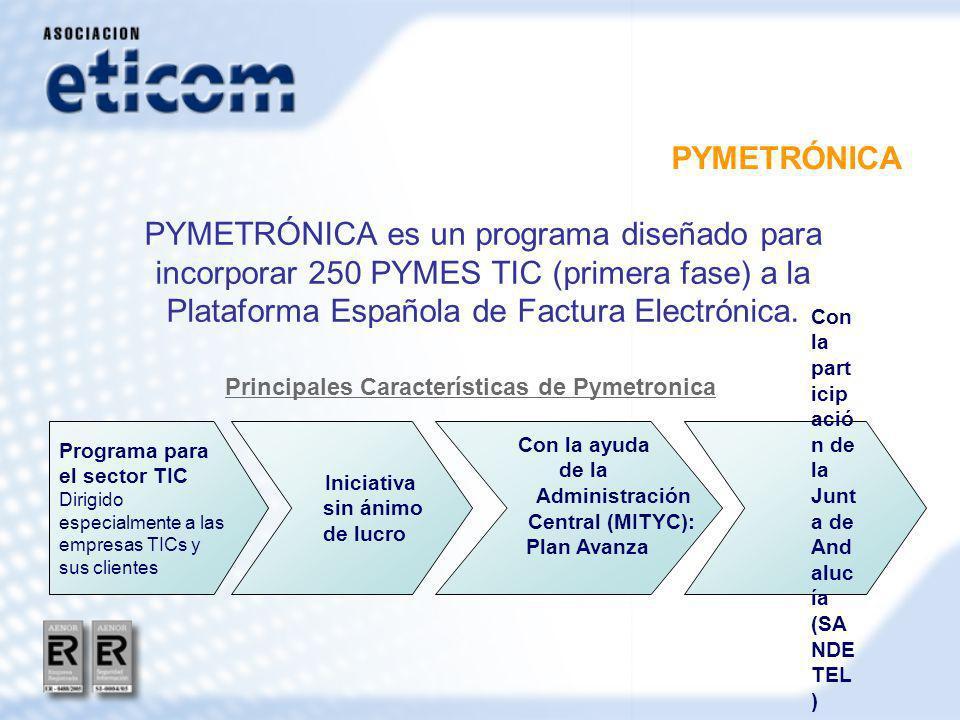 PYMETRÓNICA PYMETRÓNICA es un programa diseñado para incorporar 250 PYMES TIC (primera fase) a la Plataforma Española de Factura Electrónica.