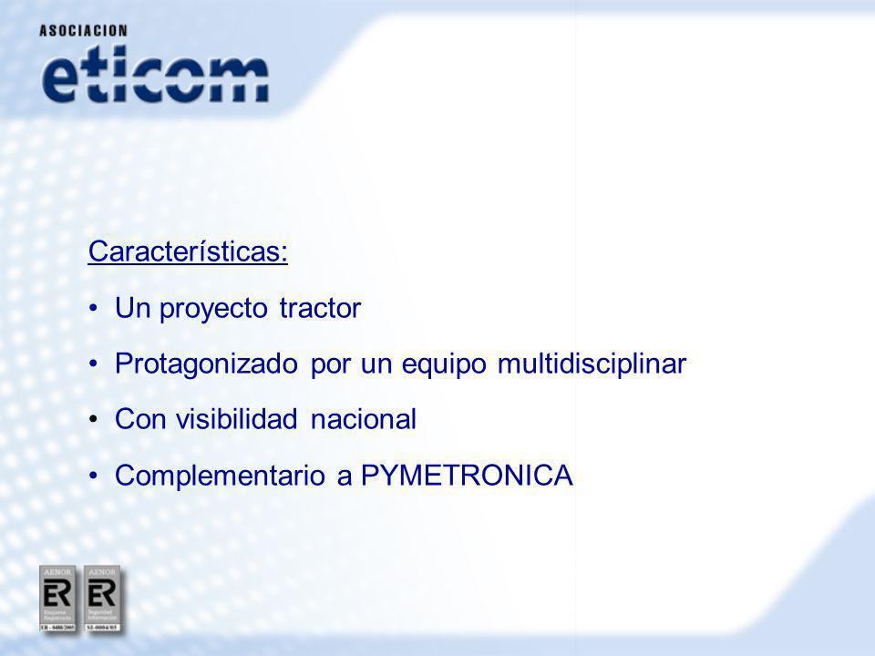 Características: Un proyecto tractor Protagonizado por un equipo multidisciplinar Con visibilidad nacional Complementario a PYMETRONICA
