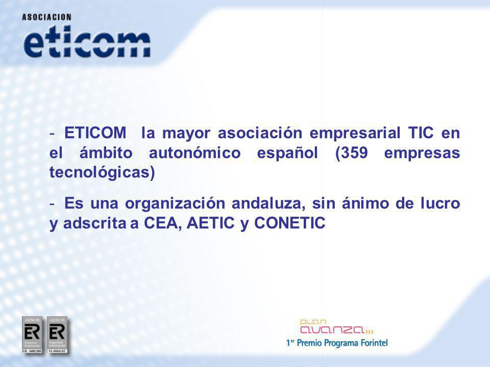 - ETICOM la mayor asociación empresarial TIC en el ámbito autonómico español (359 empresas tecnológicas) - Es una organización andaluza, sin ánimo de lucro y adscrita a CEA, AETIC y CONETIC