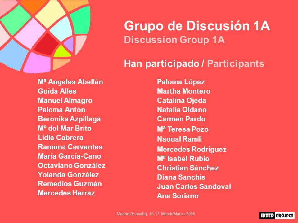 Madrid (España), 15-17 March/Marzo 2006 Grupo de Discusión 1A Discussion Group 1A Conclusiones Y, por último, la diversidad es la norma.