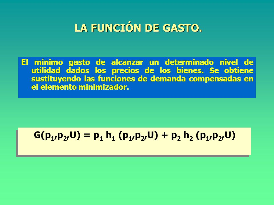 ECUACIÓN DE SLUTSKY (II). E0E0 E1E1 A m/p 1 1 m/p 1 0 m/p 2 X11X11 X 1 ES X10X10 X1X1 X2X2 p 1 > p 0 ES = E 0 A ER = AE 1 ET = E 0 E 1