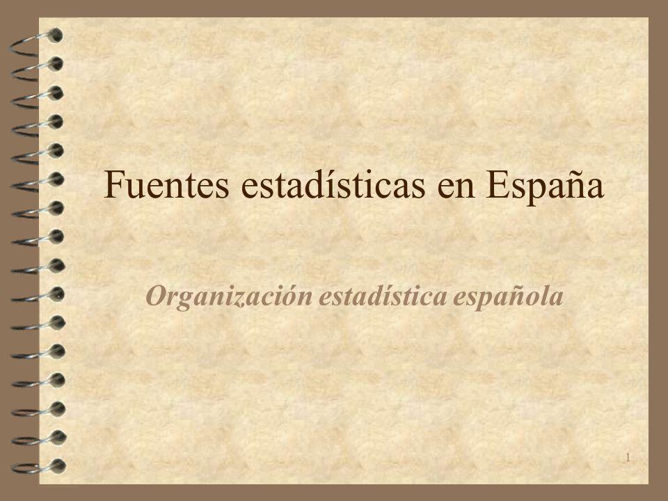1 Fuentes estadísticas en España Organización estadística española