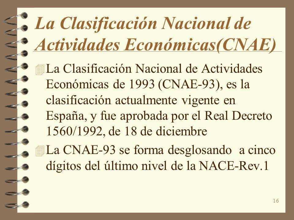 16 La Clasificación Nacional de Actividades Económicas(CNAE) La Clasificación Nacional de Actividades Económicas de 1993 (CNAE-93), es la clasificació