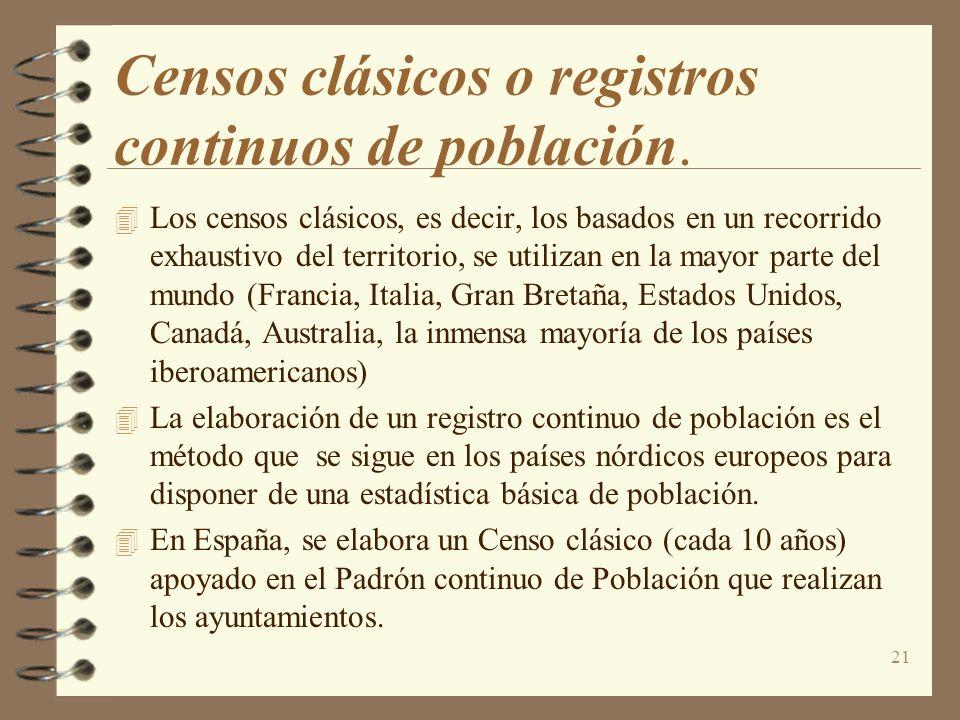 21 Censos clásicos o registros continuos de población. 4 Los censos clásicos, es decir, los basados en un recorrido exhaustivo del territorio, se util