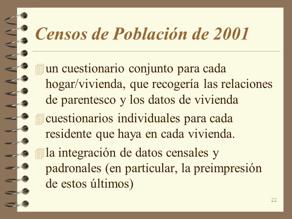 22 Censos de Población de 2001 4 un cuestionario conjunto para cada hogar/vivienda, que recogería las relaciones de parentesco y los datos de vivienda