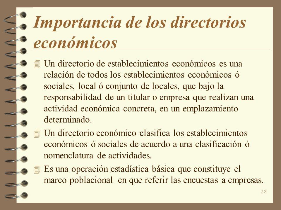 28 Importancia de los directorios económicos Un directorio de establecimientos económicos es una relación de todos los establecimientos económicos ó s